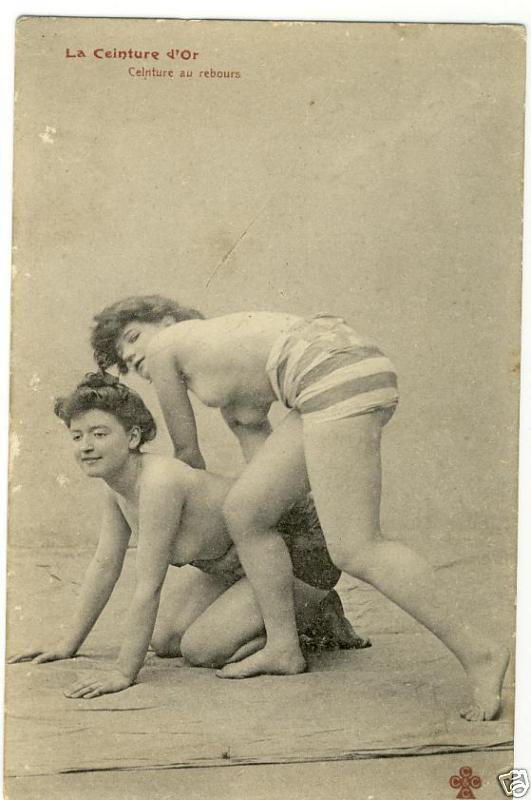 Rare vintage erotic female wrestlers. One of a set of three gorgeous old ...